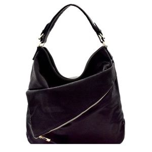 Hobo Bag Black Vegan Leather Asymmetrical Layers